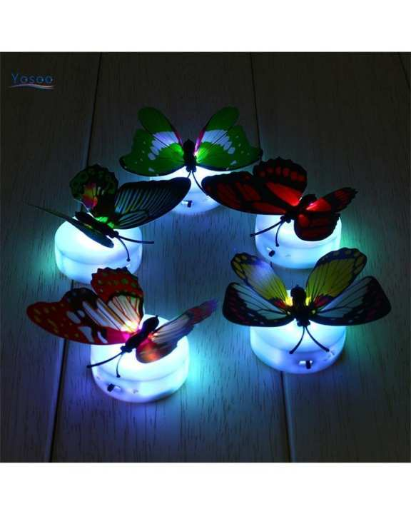 Pack Of  2 Pcs Glow In The Dark Led Butterfly Night Light Led Color Changing For Kids Room