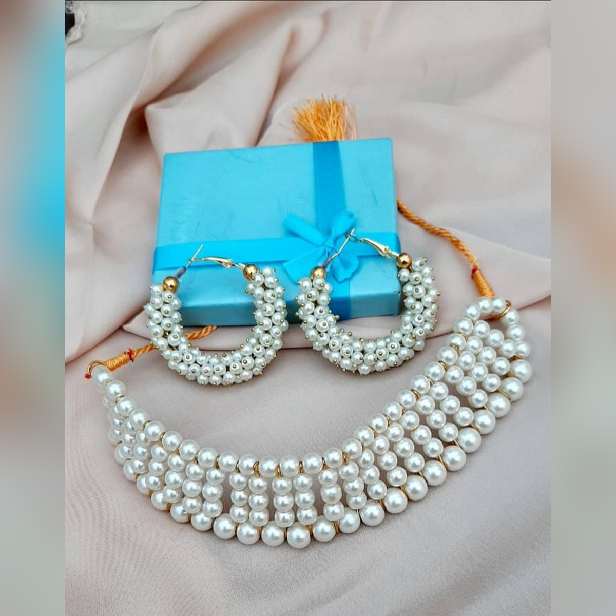 Amazing White Pearl Necklace With White Hoop Earrings Set-Box Free