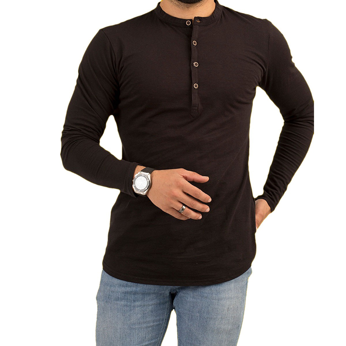 Pz Full Sleeves Black Plain Kurti Tshirt For Men