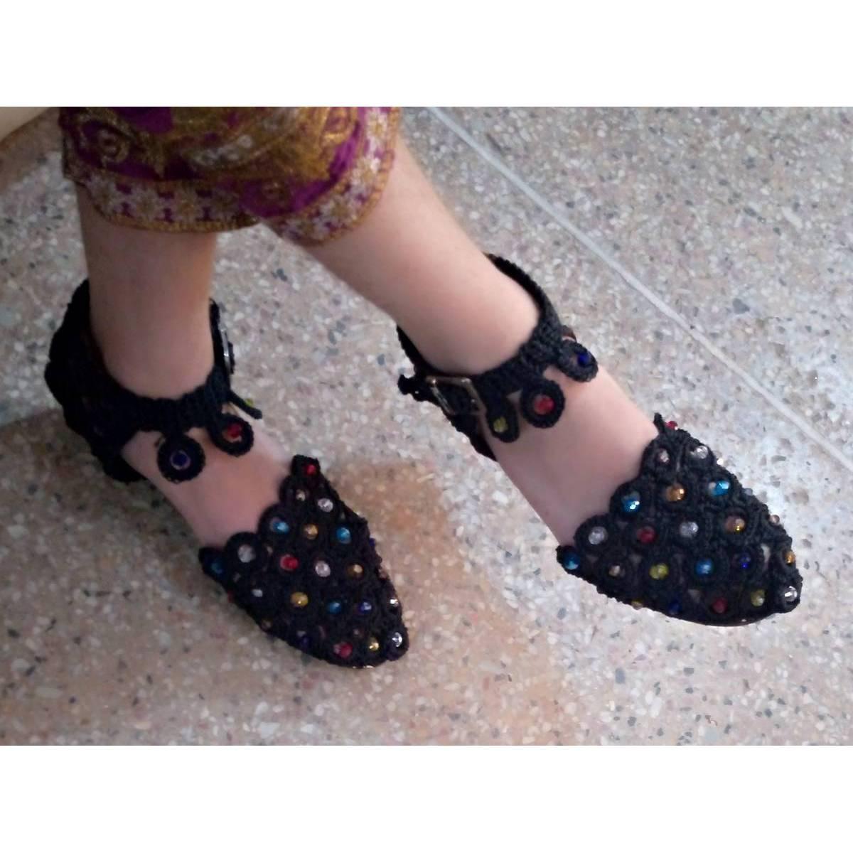 Black Crochet Khusa Sandal With white Pearls