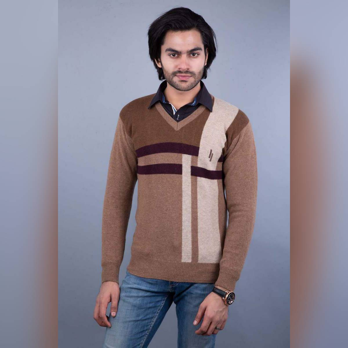 Oxford 100% Lambswool Brown Pullover Sweater For Men