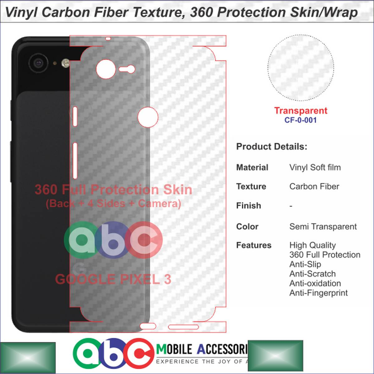 Google Pixel 3 , 360 Full Protection Vinyl Skin/Wrap in Plain , Carbon Fiber and Leather Textures for Pixel3