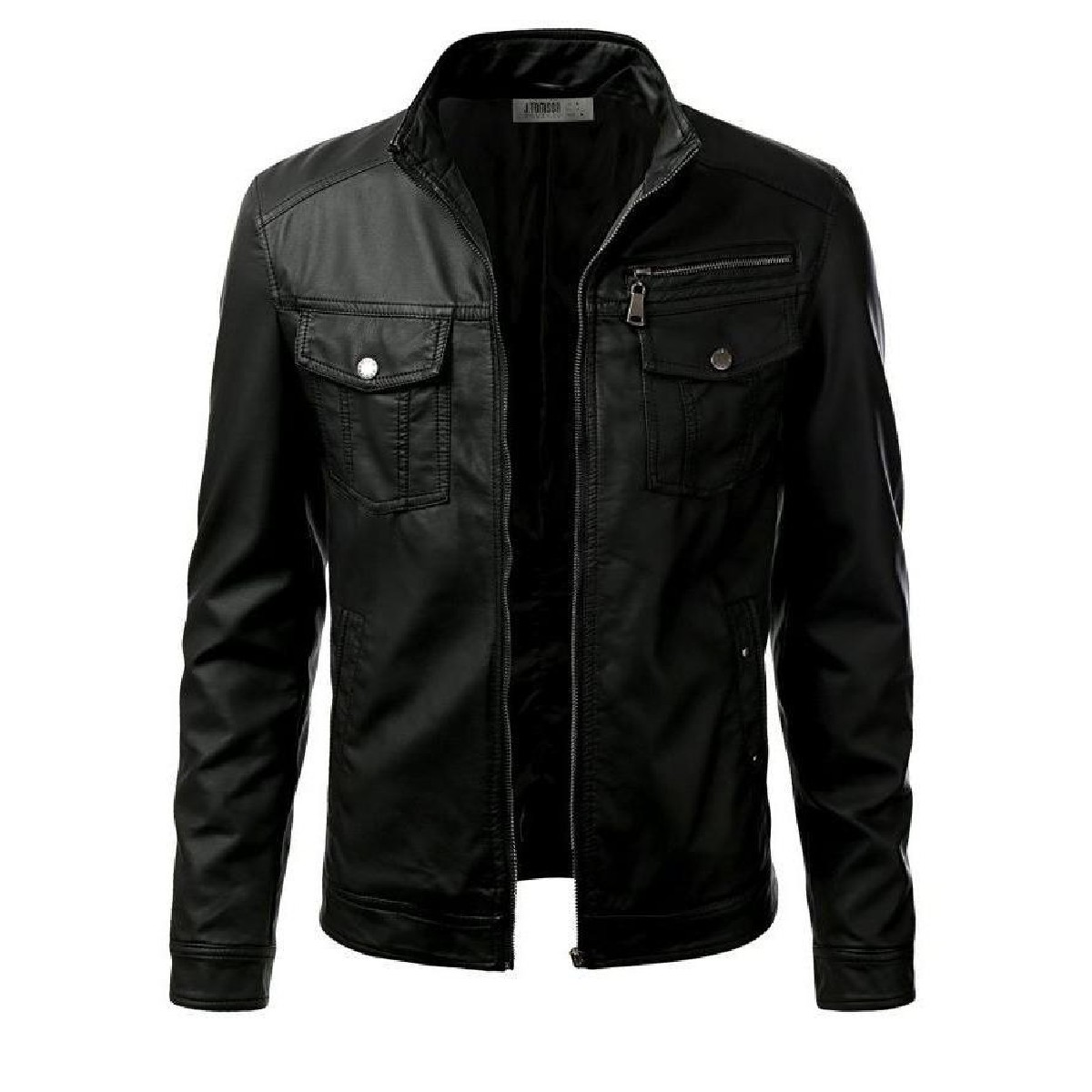 Shop Mart Black Faux Leather Jacket For Men