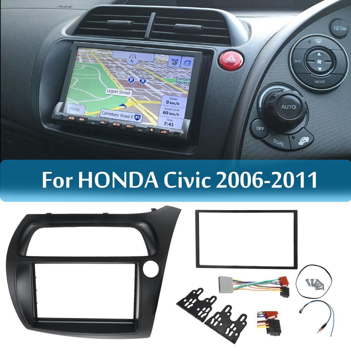 Double Din Radio Fascia for Honda Civic DVD Frame ISO Wiring Dash Mount  Trim Kit