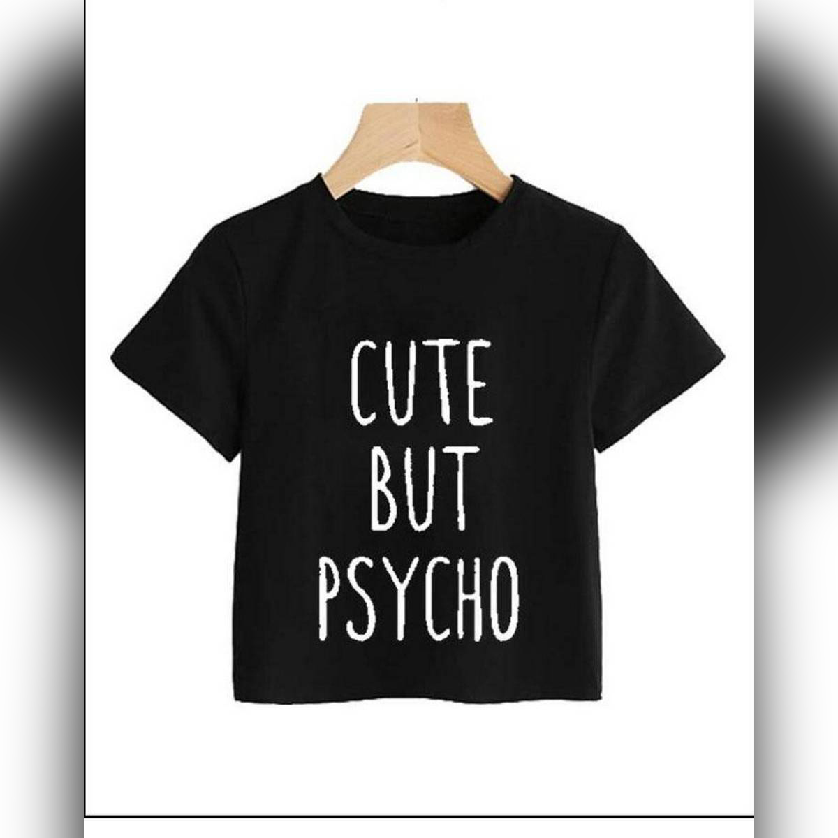 BLACK CUTE BUT PSYCHO CROPPED TOP FOR WOMEN