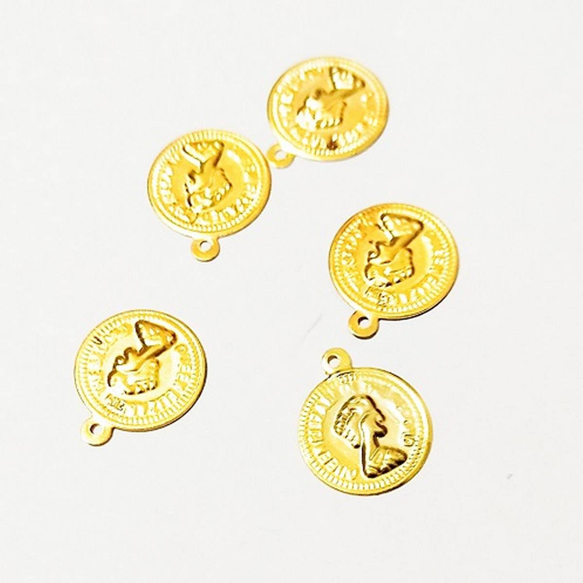 5 Pieces/Set Golden coin Charms Jewelry Making DIY Hand Made Jewelry findings
