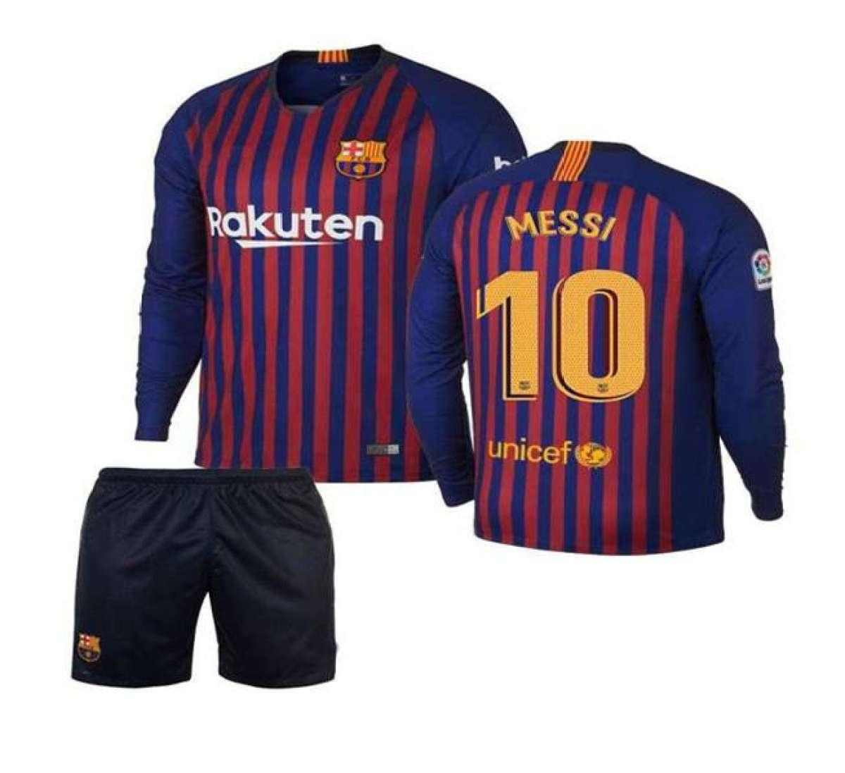 new product 025b4 b199b Kids H/SLEVES Barcelona Lionel Mess Home Shirt & Short Kit 2018-19