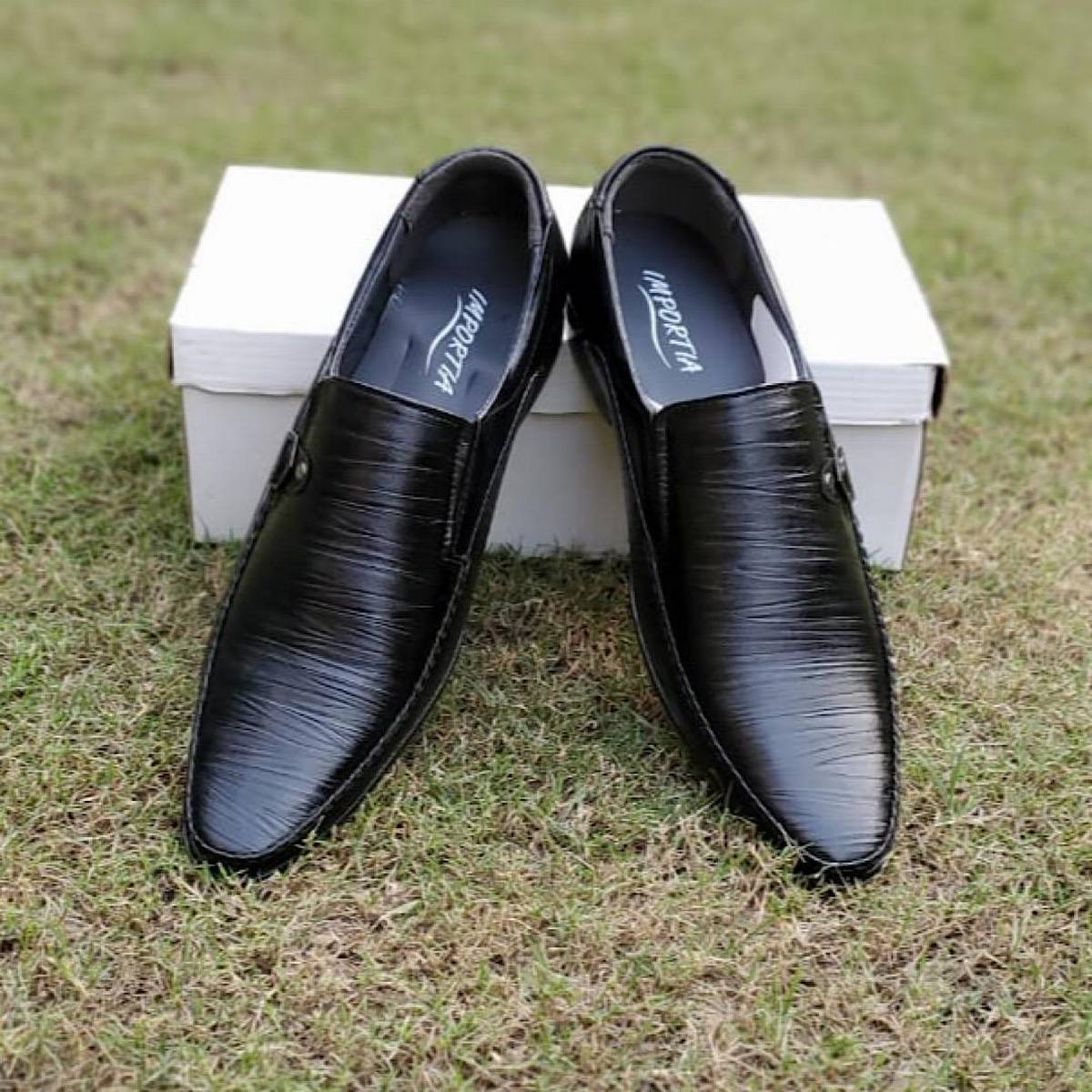 Black Synthetic leather shoes for men