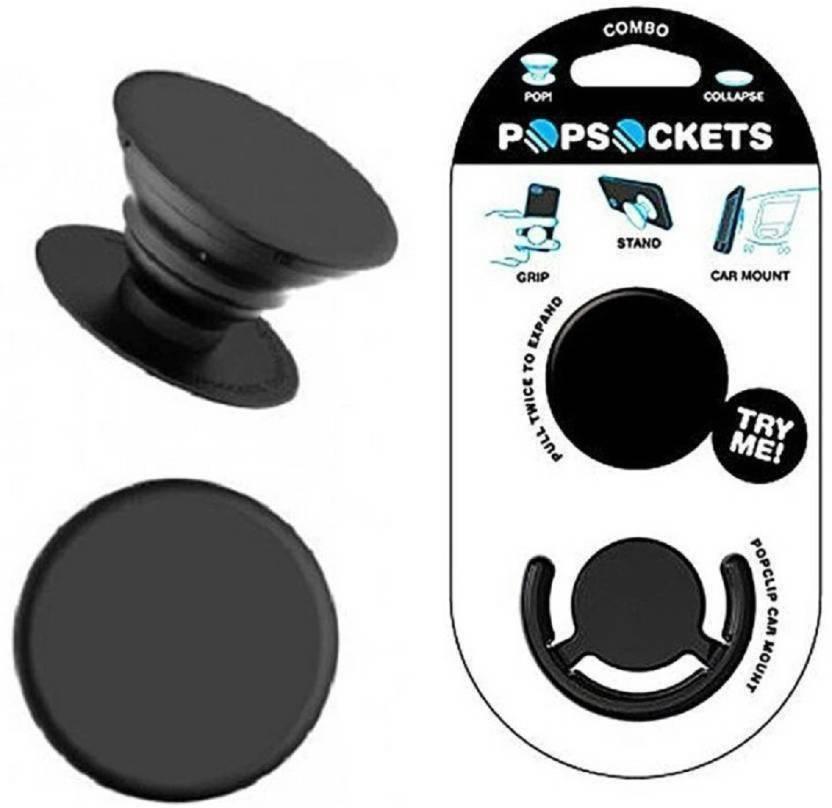 Black Pop Socket With Mobile Car Holder