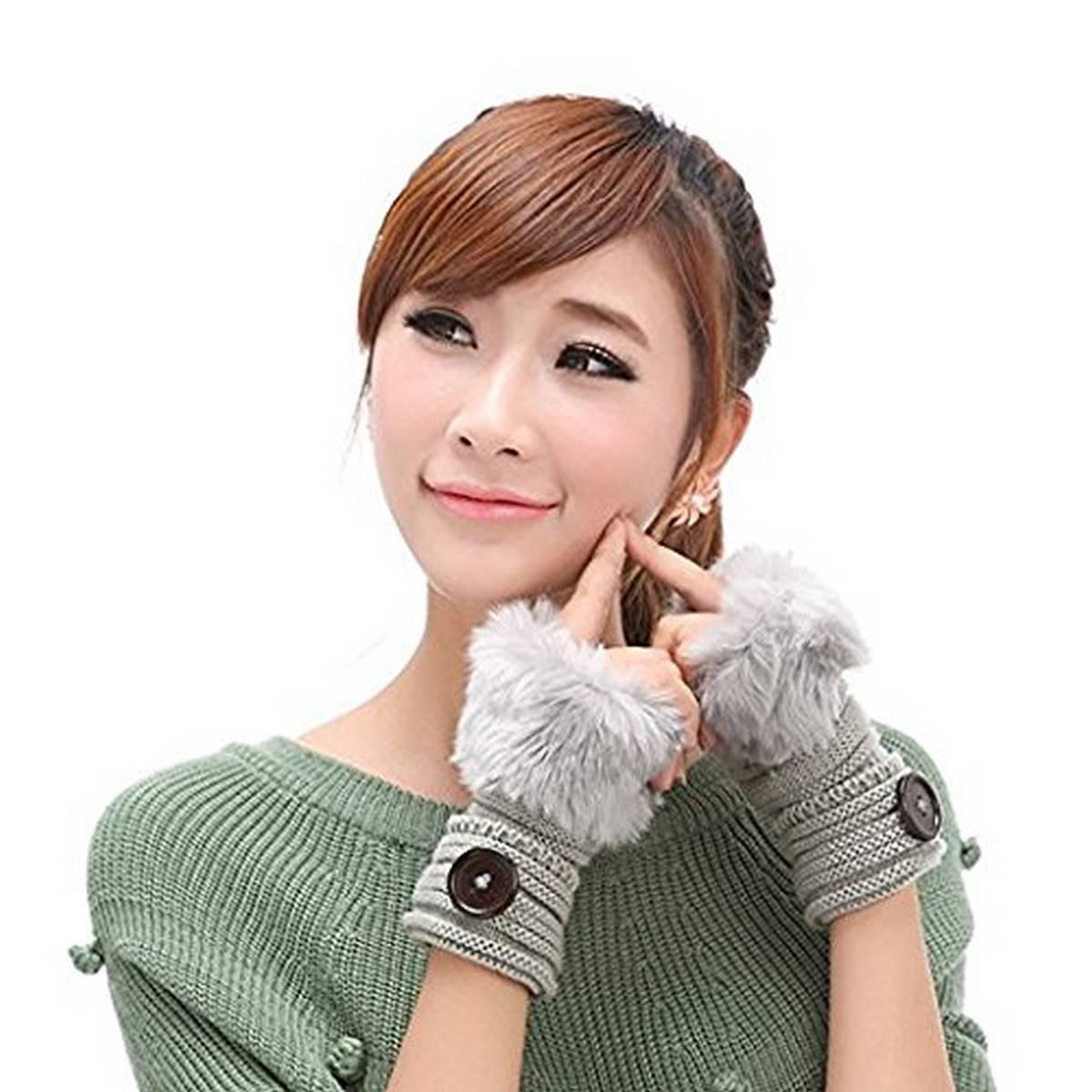 Warm Short Mitten Fingerless Fancy Winter Women Gloves