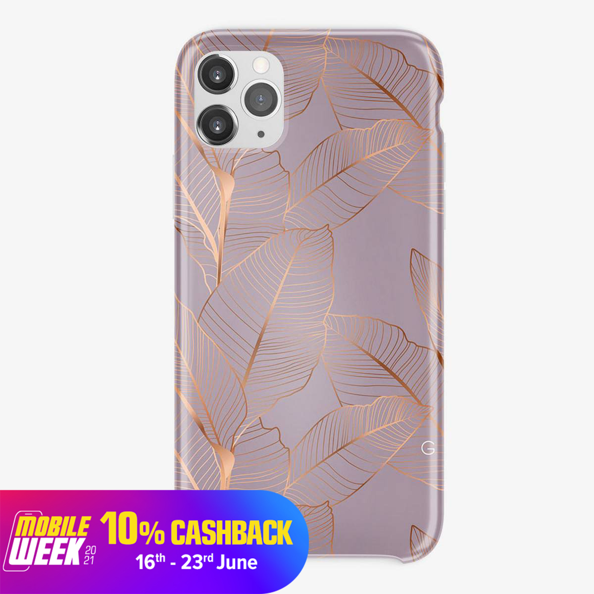 Universal Golden Leaves Printed Silicon Mobile Cover