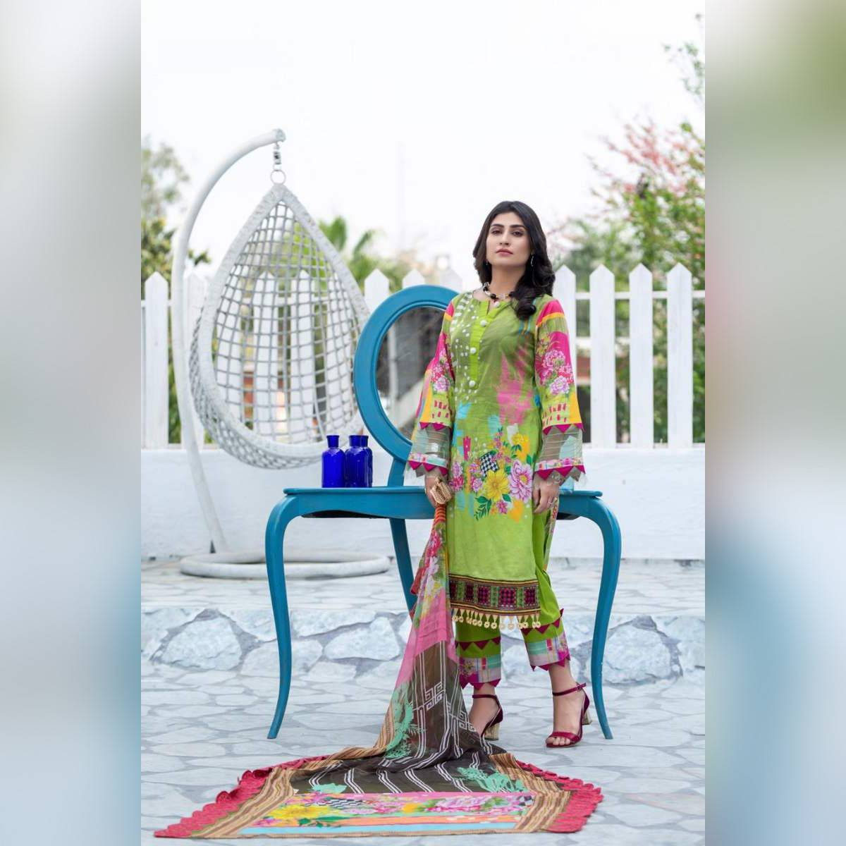 Peshwa Unstitched Lime 2-Pc Lawn Embroidered Suit For Women Summer Unstitched Vol 9 P209007