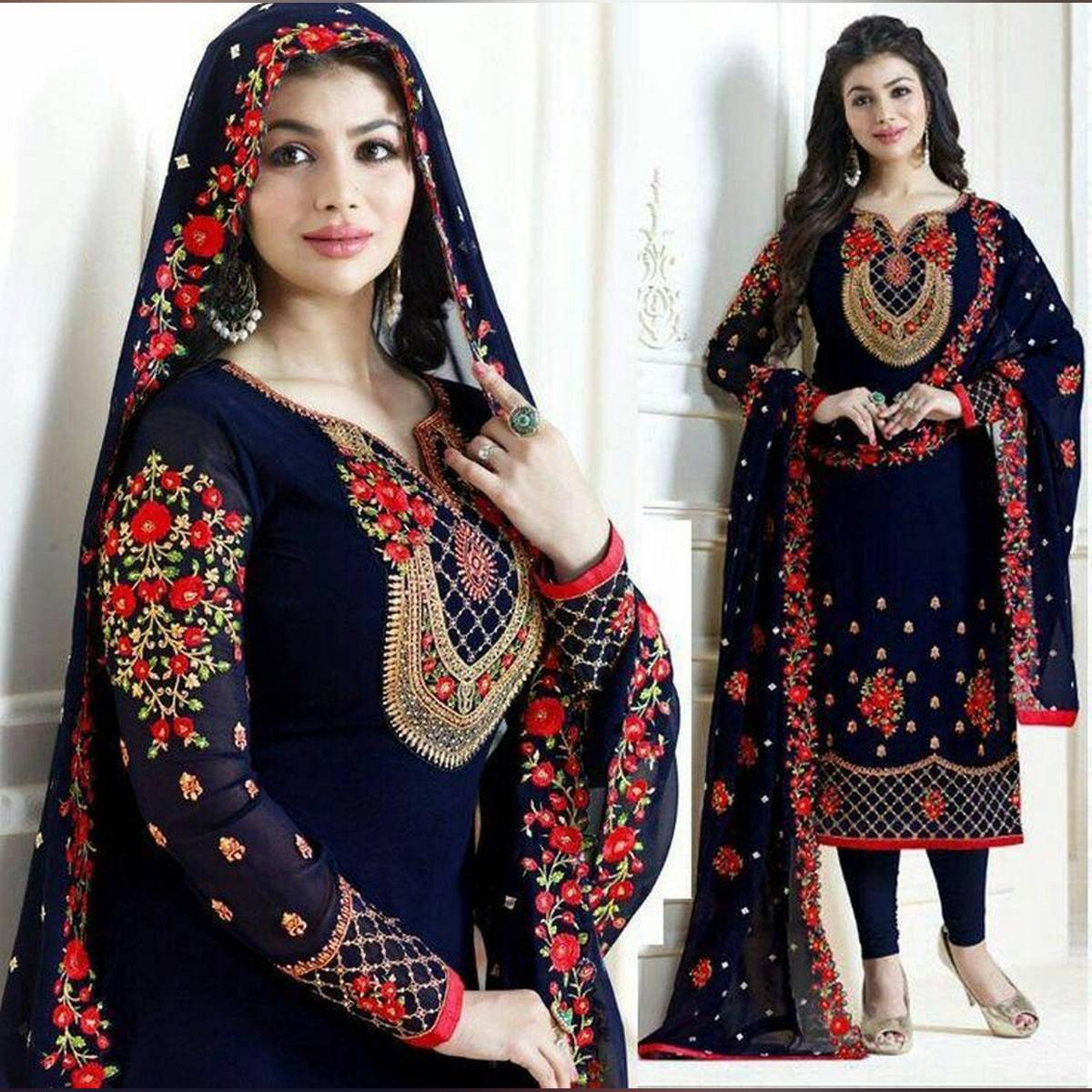 Navy blue Embroidered 3 piece unstitched suit