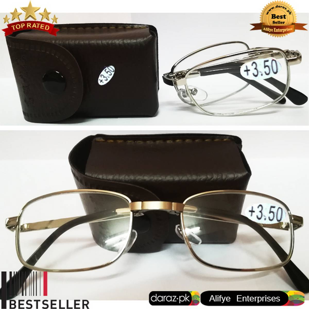 Imported Foldable Optical Reading Glasses +3.50 Prescription Eyeglass Metal Men & Women Ray Computer Working Folding Reading Glasses with Case