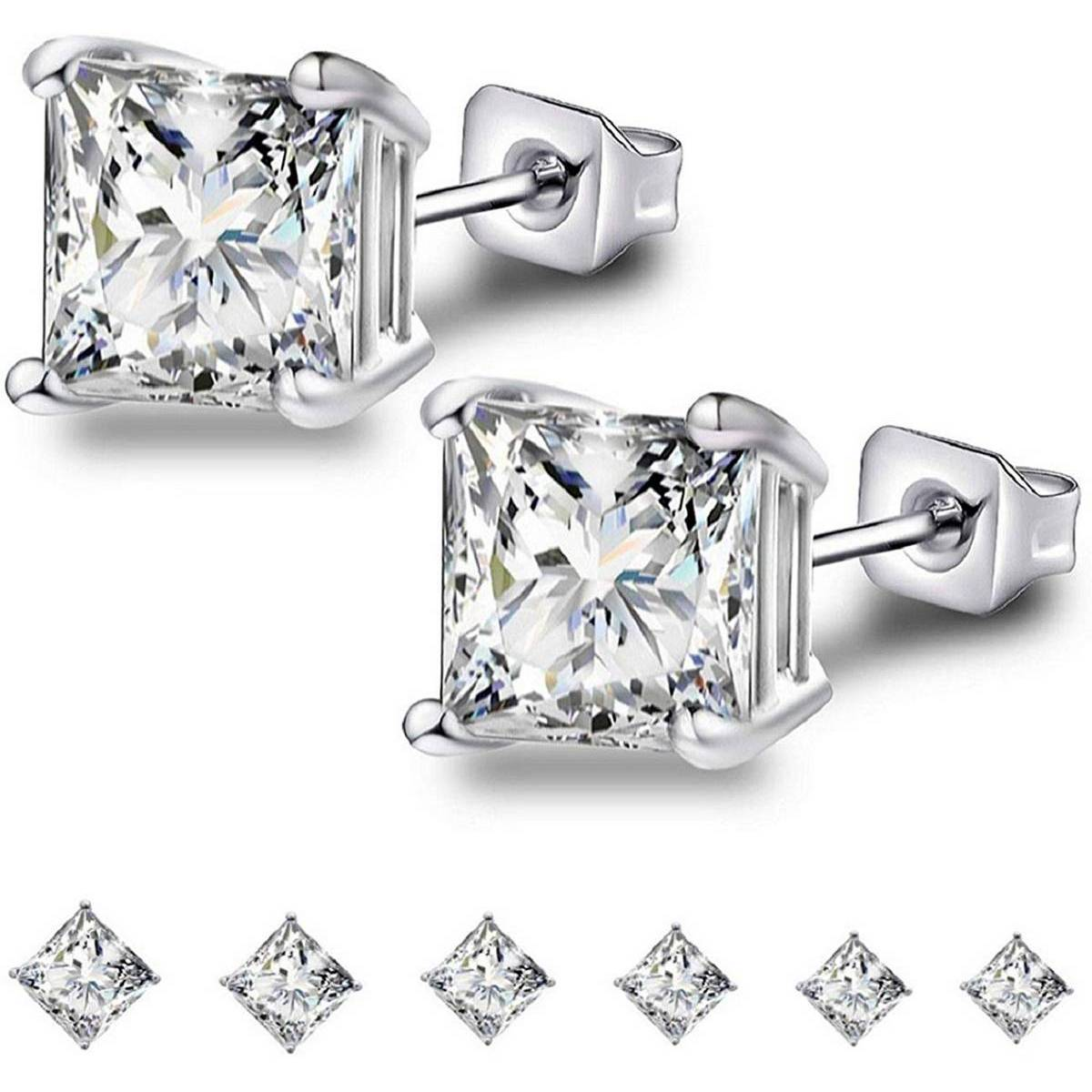 3mm Sterling Silver Cubic Zirconia Stud Earrings Set Tiny Round Ball Sliver Plated Round Cut CZ Simulated Diamond Cartilage Studs for Girls Women (Unisex)