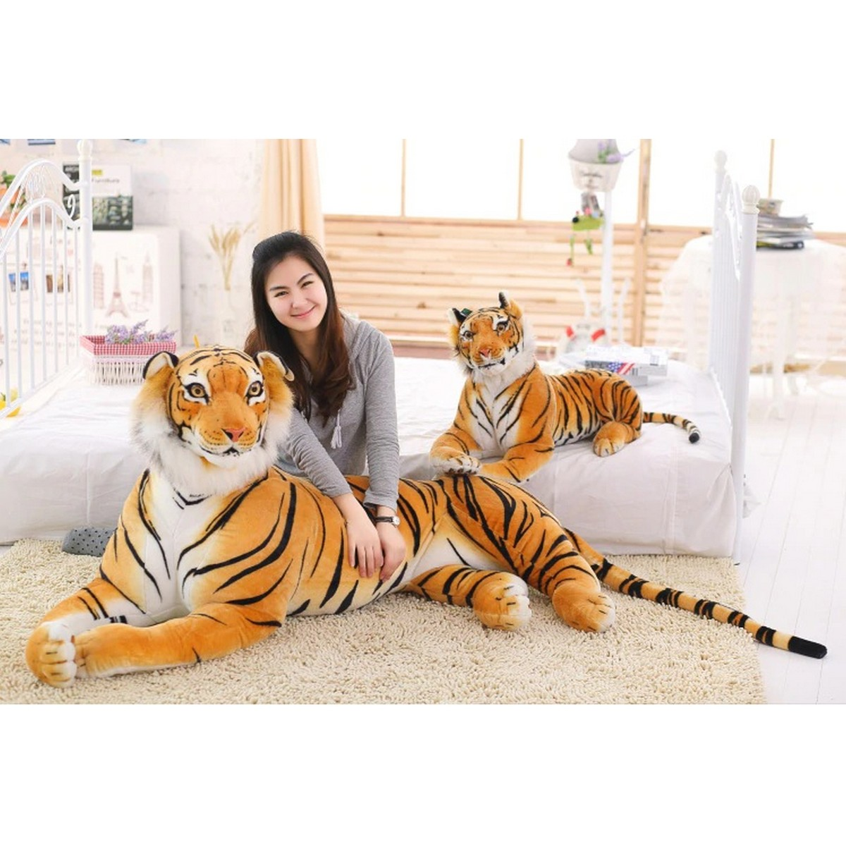 Hot Sale Imported Quality Realistic Soft Stuff Animals Tiger Plush Stuffed Toys For Kids Gifts