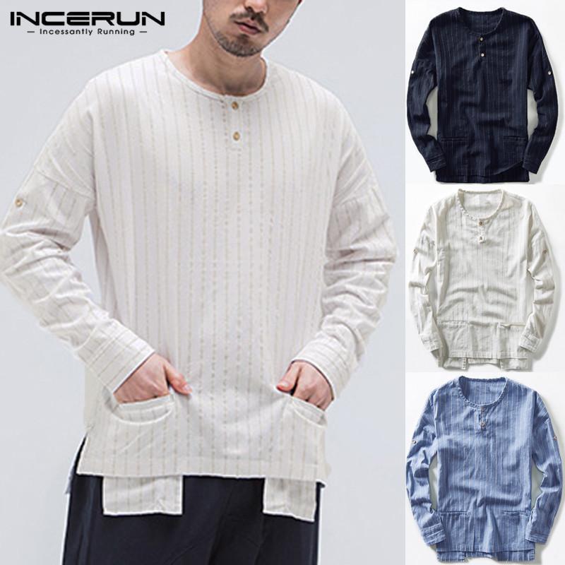 ee8c87c8 INCERUN Men's Shirt Long Sleeve Summer Stripe Retro Collarless Tops Tee T  Shirts Stylish
