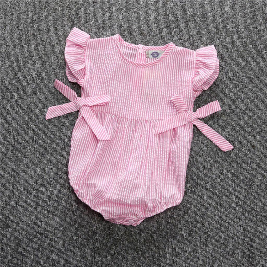 0e4b77ea33e Rainbowroom 2019 Newborn Infant Girl Baby Bowknot Stripe Sleeveless Romper  Bodysuit Clothes
