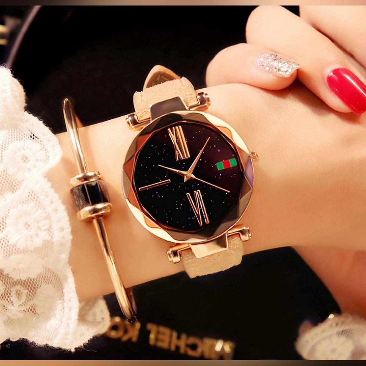 Stylish Starry Sky Quartz Wristwatch For Women.