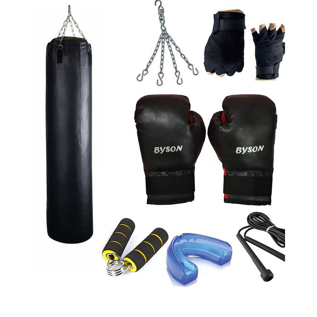 Synthetic Leather Rough and Tough Boxing Kit Set for Men and Senior(3feetPunchingBag,12ozBoxingGloves, SkippingRope, HandGrip, MouthGuard, Chain) Heavy Bag for Exercise and Fitness