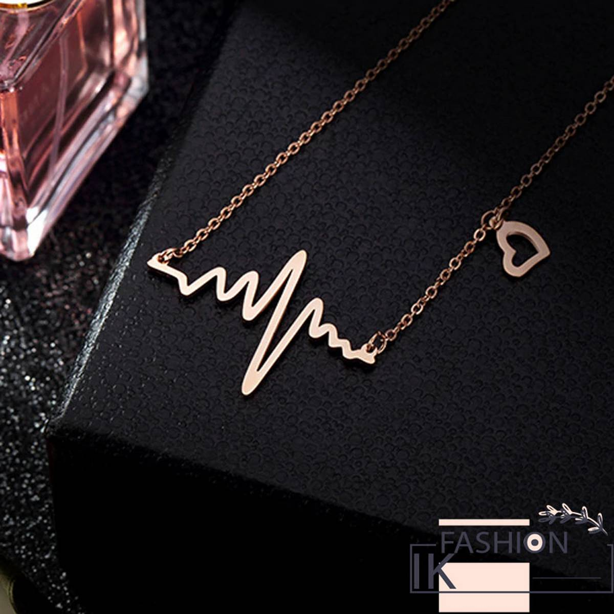 IK Fashion - Simple Wave Heart Necklace Chic Ecg Pulse Charm Pendant Necklace Lightning Women Vintage Fashion Jewelry Accessories Gold Color
