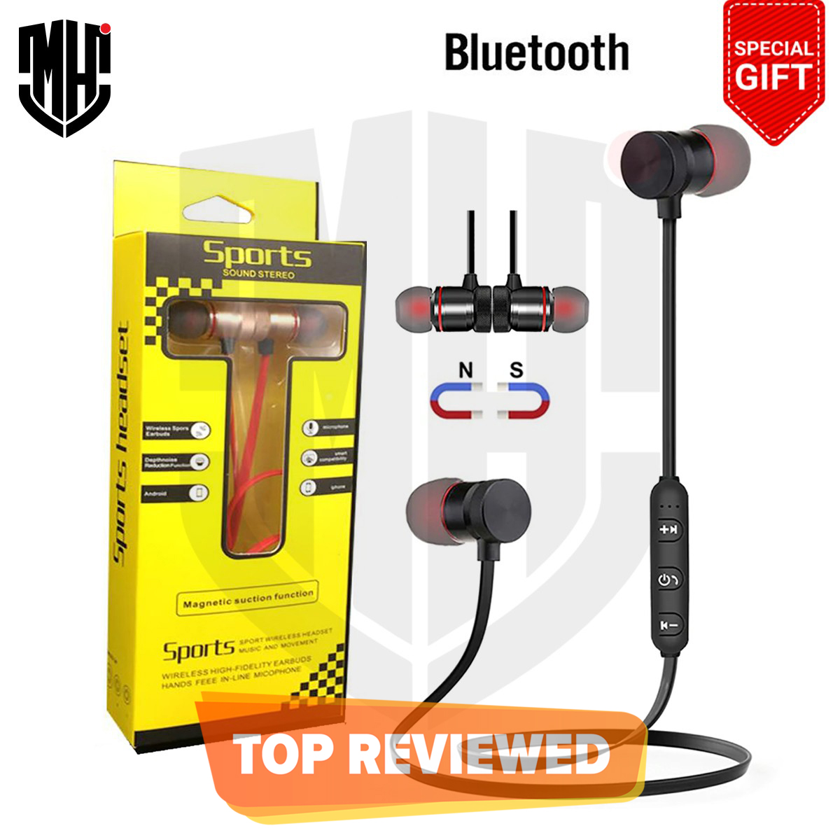 Original Wireless Magnetic Suction Function Wireless Earbuds Bluetooth Handsfree  Portable Magnetic Wireless Hands Free Earphone Stereo Bluetooth 4.2 Headset with Microphone Sports Stereo Headset Gaming Headset Sport Handfree Wireless Bluetooth