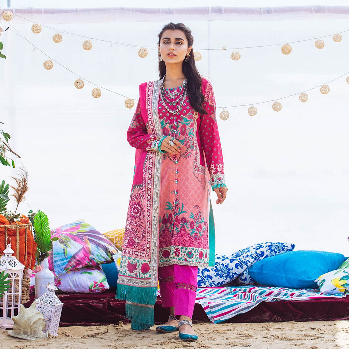 Maahru French Rose  - Women's Unstitched 3PC Summer Printed Lawn with Dupatta