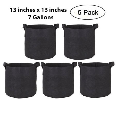 Pack of 5 Fabric Grow Bags - 7 Gallons - Victoria Store