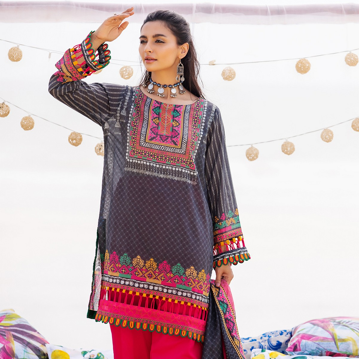 Maahru Pink Scarlet  - Women's Unstitched 3PC Summer Printed Lawn with Dupatta