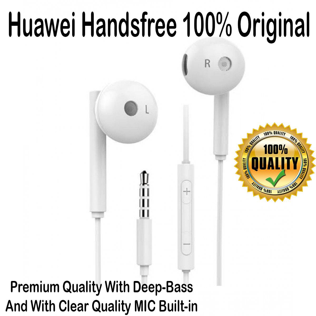 100% Original Handsfree 3.5mm Jack With Deep-Bass and Clear MIC Quality Suitable for Huawei Mobile Phones And All Other Smart Phones
