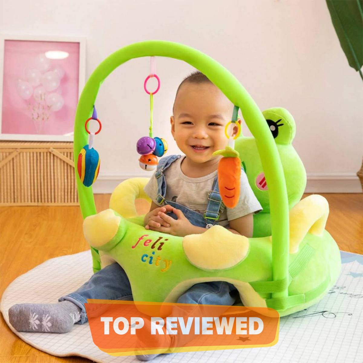 Sofa Set Support Seat Cover Baby Plush Chair Cartoon Learning Sit Plush Chair Toddler Nest Puff Washable With Rod Toys