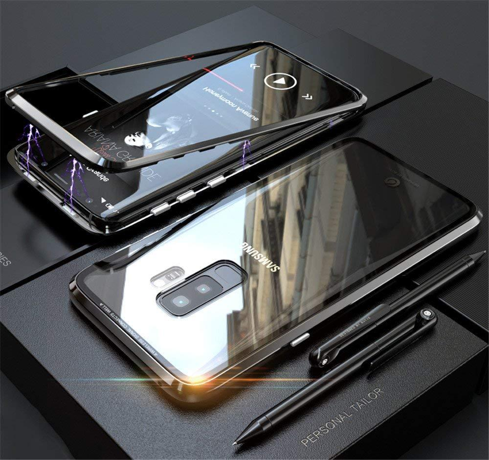 Magnetic Adsorption Case Metal Frame Tempered Glass Back with Built-in  Magnet Cover For Samsung Galaxy S9 Plus