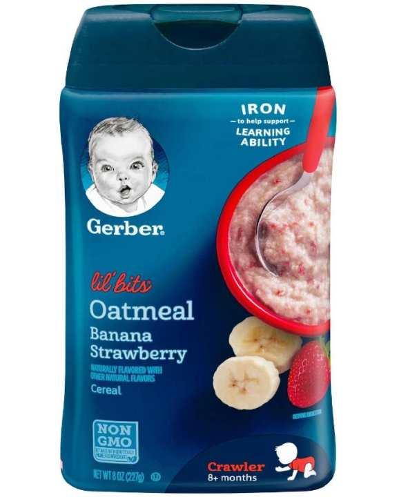 Gerber Lil Bits Oatmeal Banana Strawberry Cereal 227 Grams