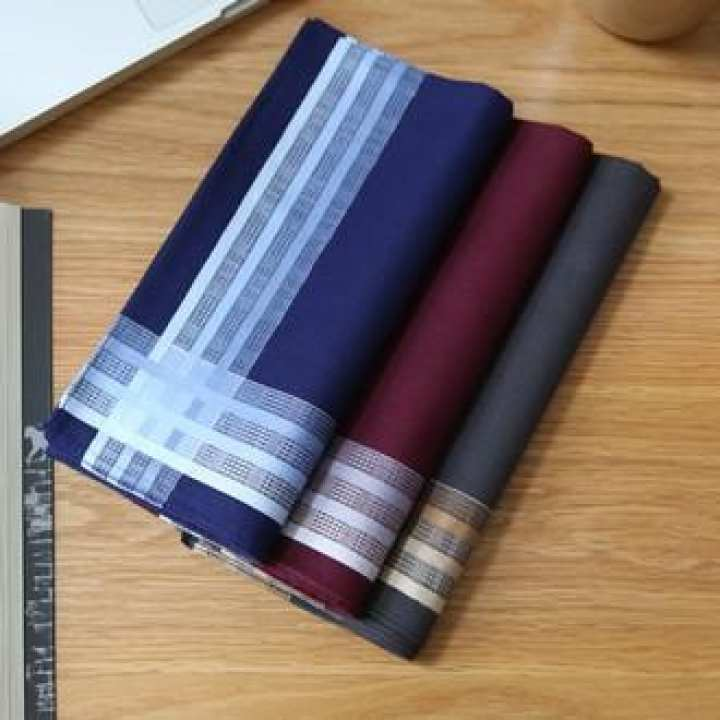 Pack Of 3-High Quality Hankerchief 100% Cotton Casual Men's Pocket Handkerchiefs