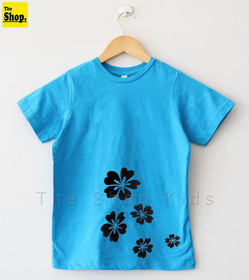 The Shop - Turkish Blue Cute Floral Print T-shirt For Girls - Tb-fpt1