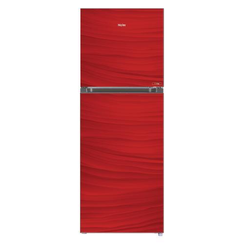 Haier Hrf-398 Epr - Top Mount Refrigerator - Glass Door - 368 L - Red