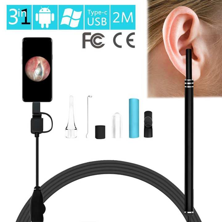 2 m 3-in-1 USB & Android & Type-C Ear Cleaning Endoscope HD Visual Ear Spoon Multifunctional Earpick With Mini Camera Ear Health Care Safe Reliable Cleaning Tool With Accessories For Children