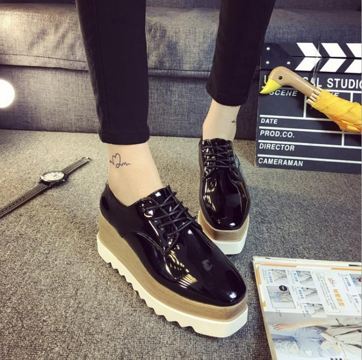552f47f72978 Women s Shiny Lace Up Flats Double Platform Creepers Shoes Oxfords 2017  Fashion BLACK