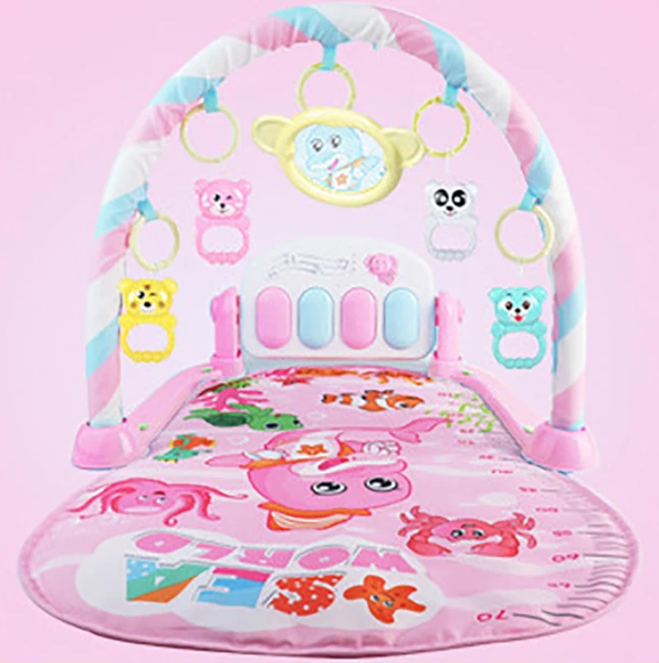BABY GYM EDUCATIONAL Musical Fitness Play Mat Baby Kick and Play Piano Gym Mat Rack Newborn Music Fitness Rack Rattle Toy Play Crawling Mat Early Educational Toy for 0~18 Months Old Babies