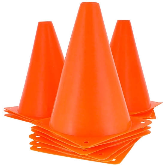 "Set of 12(darjan), 6"" Pvc Plastic Cones For training purposes (Football, Soccer, Hockey)"