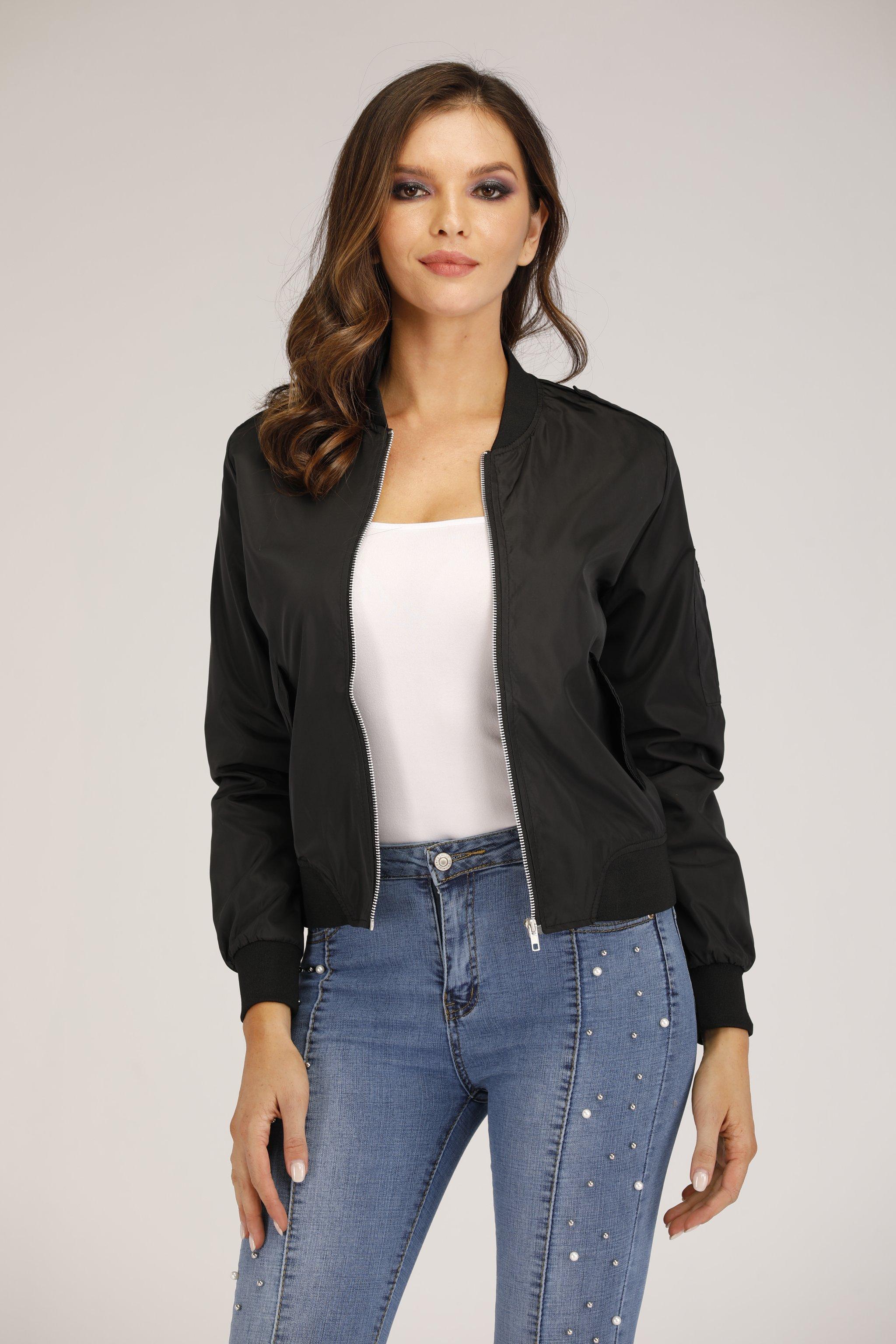 Mantra Black Bomber Jacket for womens