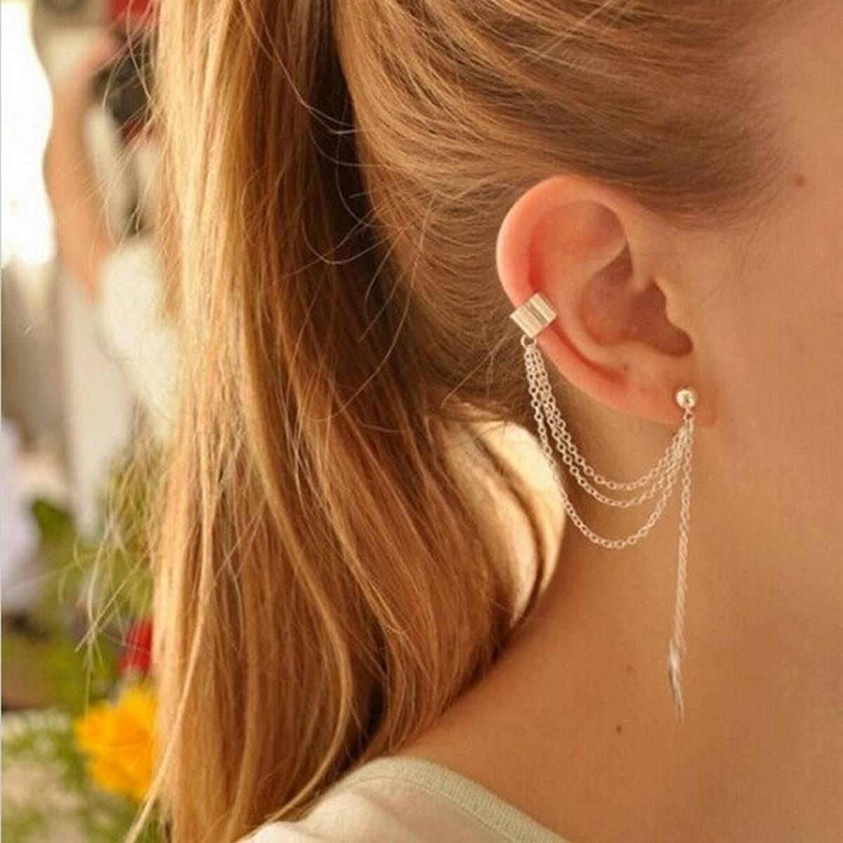 1 pair Long Tassel Clip On Earrings Bridal Dangling Fashion Crystal Geometric Artificial Ear Leaf Women Cartilage Earring Leaves Non Piercing Simple Alloy Bohemian Gold Silver