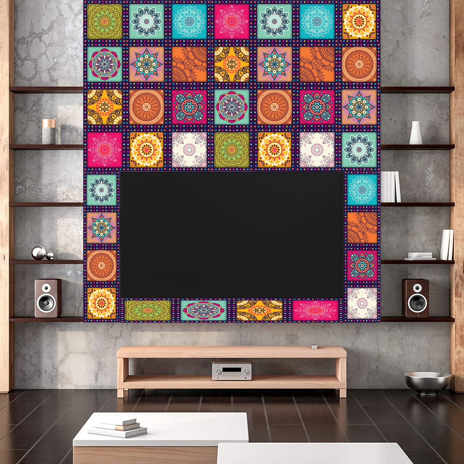 Wall Attraction Tile Stickers Pack of 12 pieces for Home Decor for Walls Self Adhesive Tile Sticker 4.4 in by 4.4 in (12 Pieces)