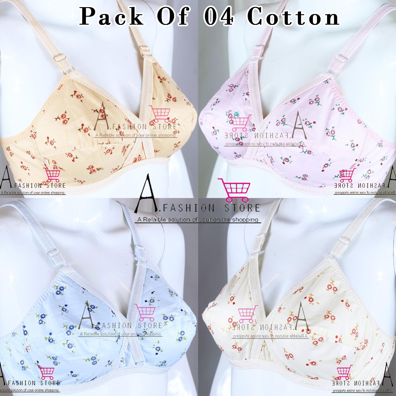 Pack of 4 Women Ladies Girls Classy Multi colour Cotton Printed Bra Brief Blouse Brazier Brassier Undergarments- Cotton Brazzer for Girls