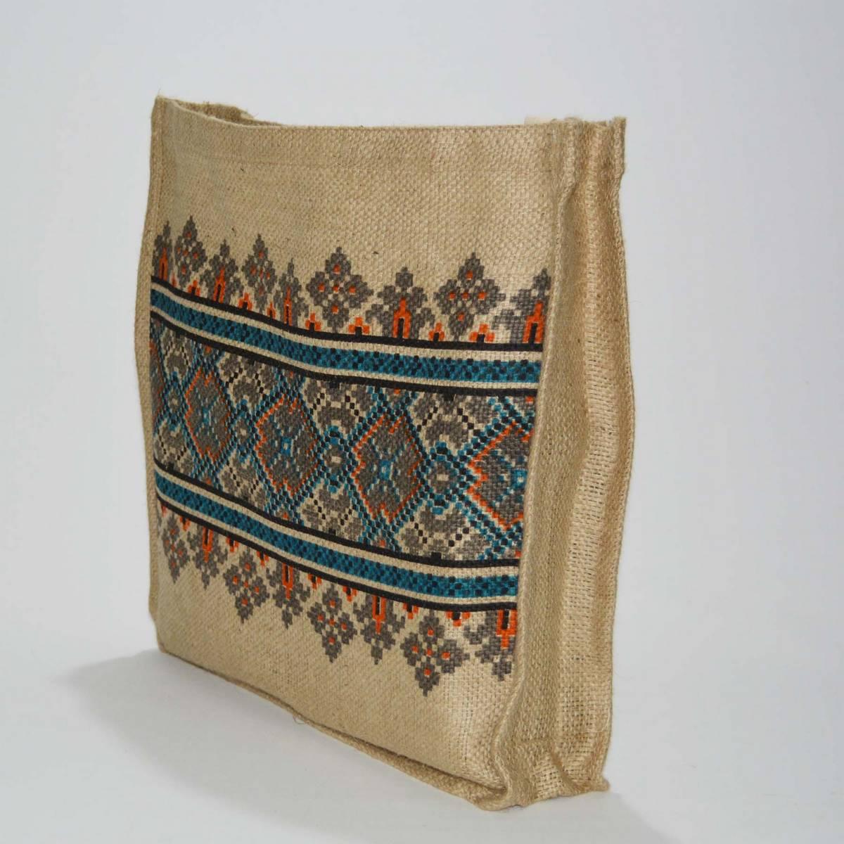 Jute Tote Bag Soft Cotton Handles Reusable Grocery Shopping Bag I Flaire