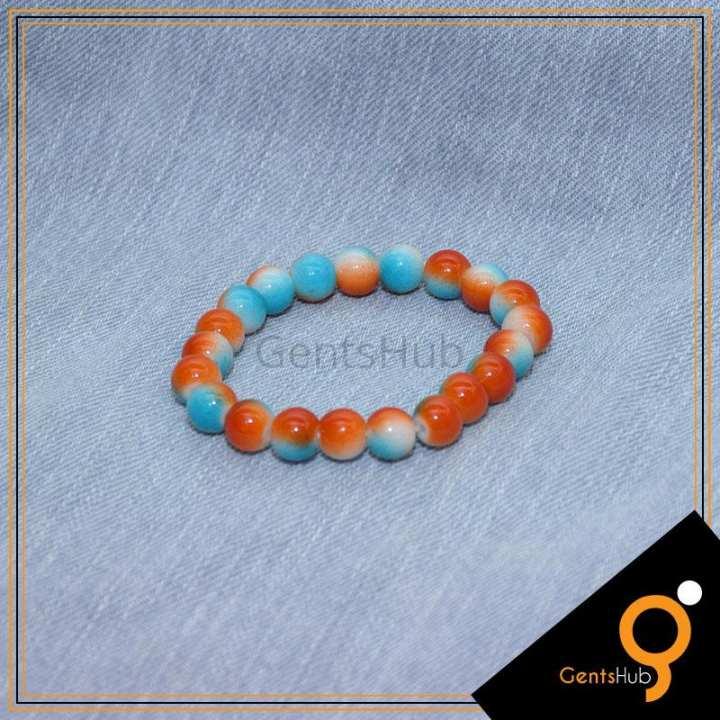 Orange With Blue Double tone Bracelet for Men
