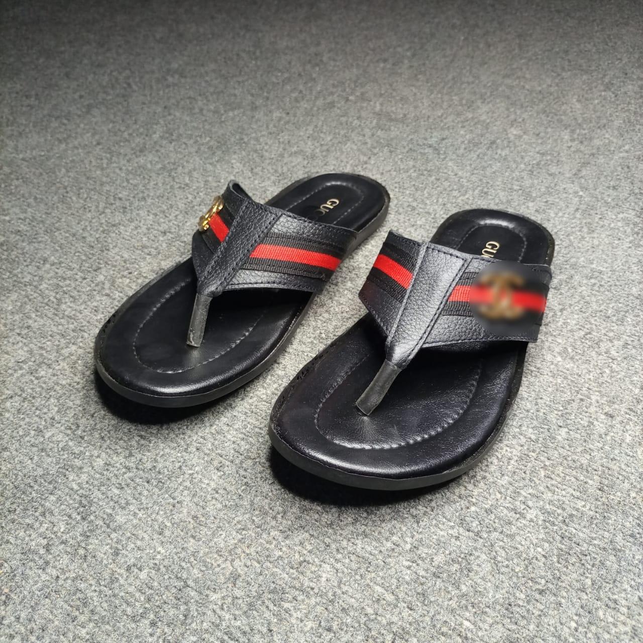 (MK) - Black ,Brown & Maroon Synthetic Material Flip Flop L001