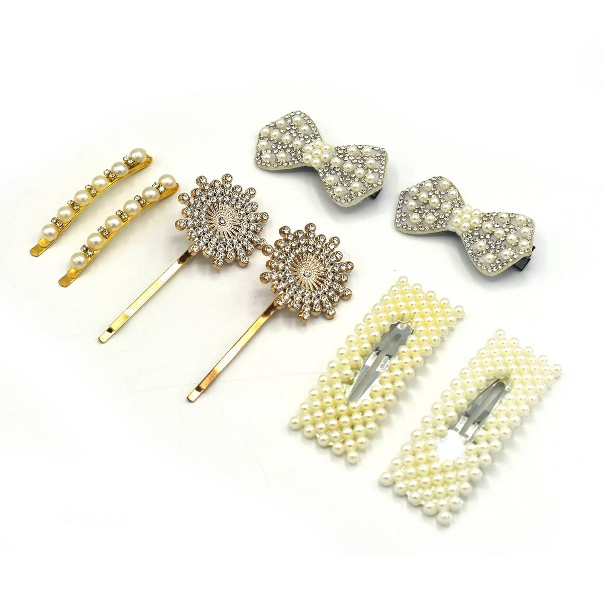 4 Pair Fashion Metal Pearl Hair Clips Decorations Women Hairpins Hair Barrettes Floral Girls Headwear Clamps Styling Accessories