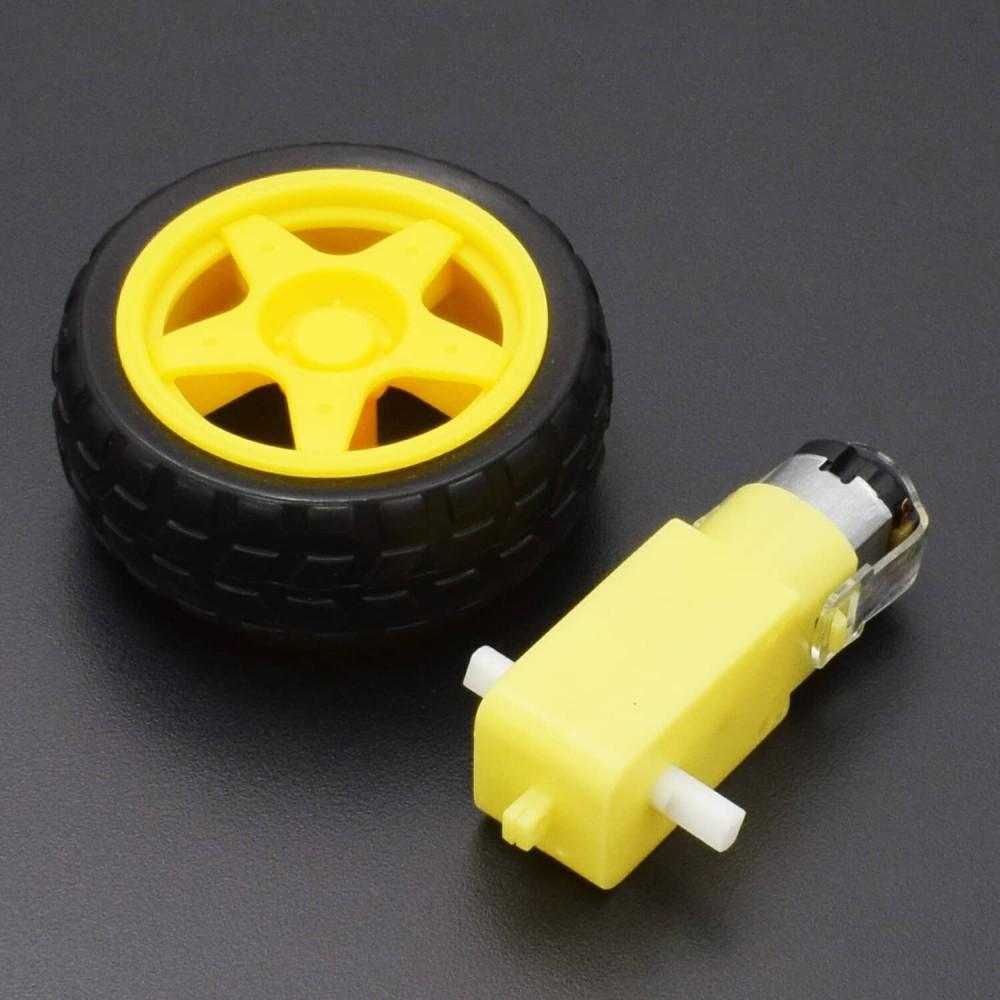 Smart Car Tyre Wheel With Gear Dc 5V Motor Diy Car Robot Arduino