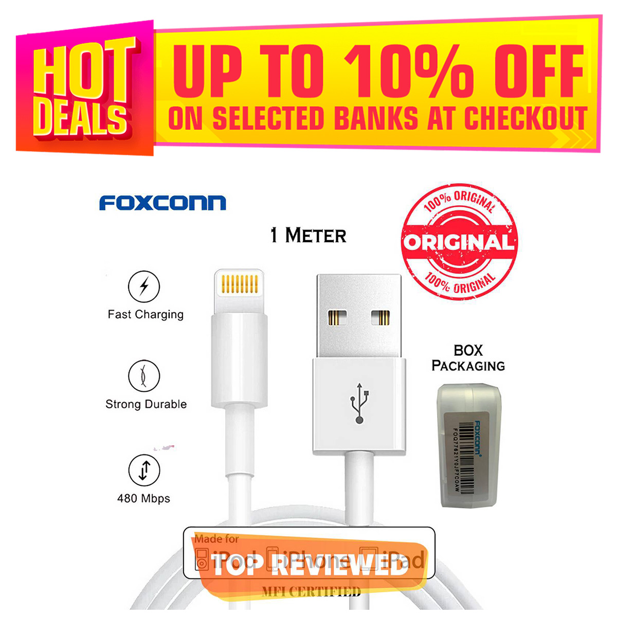 Foxconn iPhone Data Cable Lightning to USB Cable - MFi Certified FAST Charging & Syncing Compatible iPhone 11 Pro Max/11Pro/XS/Max/XR/X/8/8P/7/6/5S Data Cable for iPhone